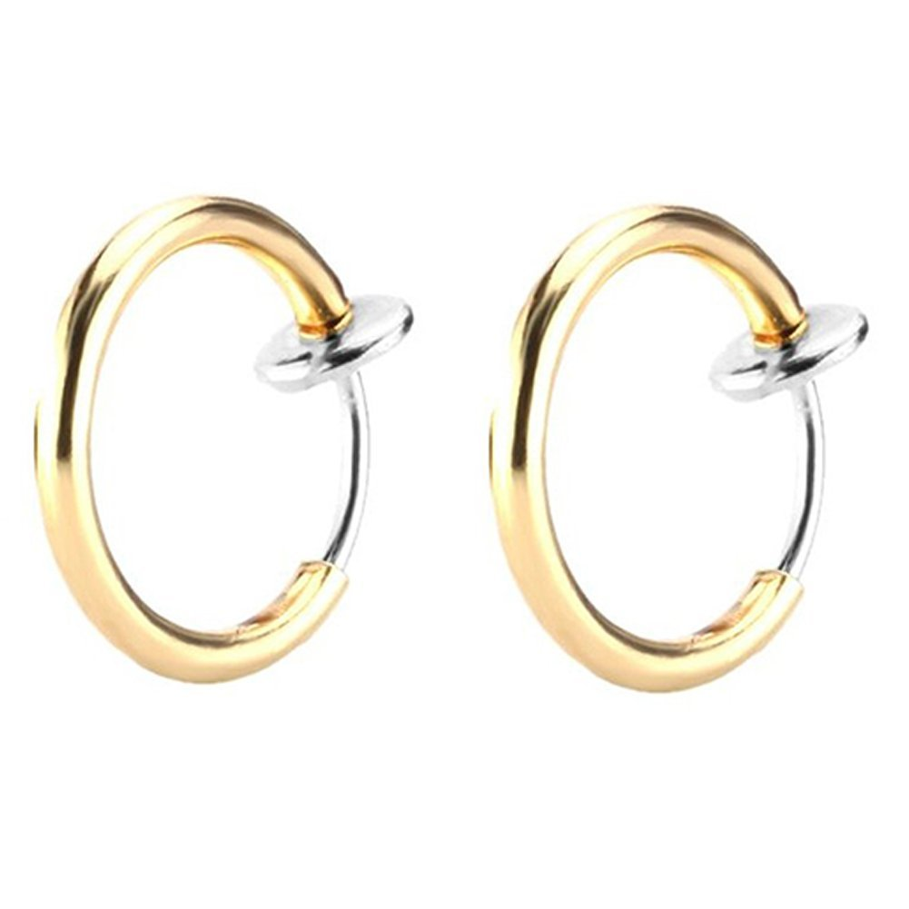 Great my shop 16G Surgical Stainless Steel Fake Earrings Hoop Non-pierced Nose Ring Lip Ear Clip Body Jewelry
