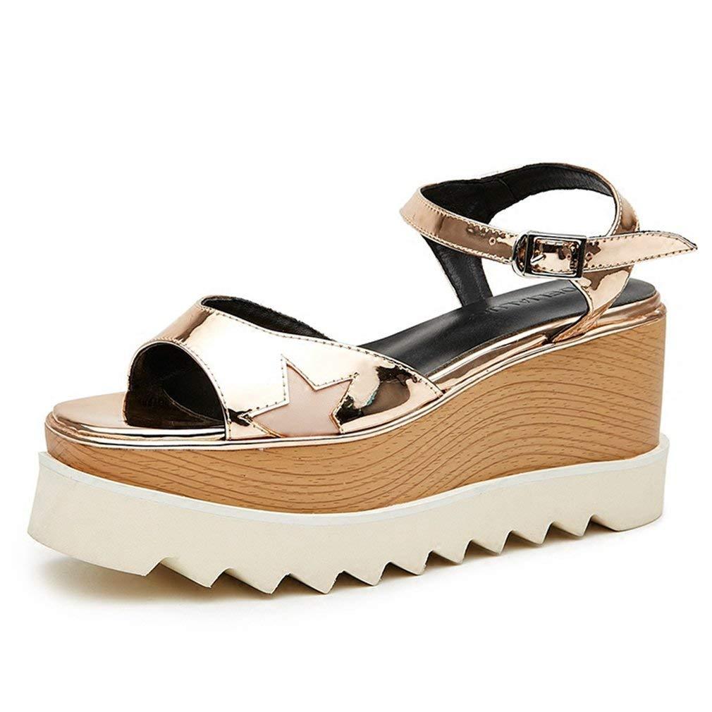 CYBLING Women's Open Toe Platform Wedge Sandals Star Wood Decoration Mid Heel Buckle Shoes