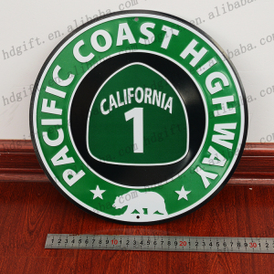 Pacific Coast Highway Traffic Signs Street Indication Embossed Circle Metal Plate