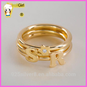 Three Golden Rings Two Letter Rings And One Star Cheap Custom Made