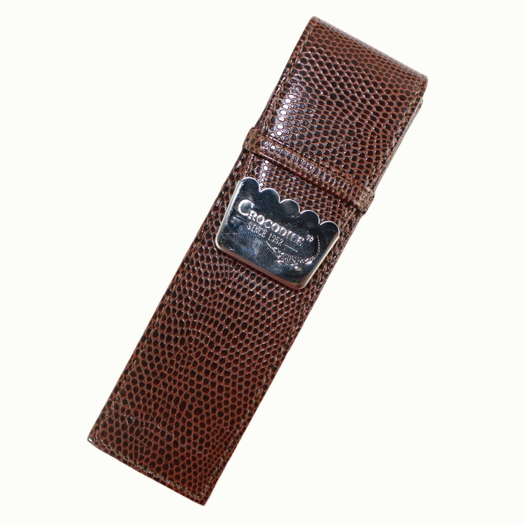 Gullor NEW DISIGN!Crocodile brown and crocodile skin pattern gift pen case accommodates double pen