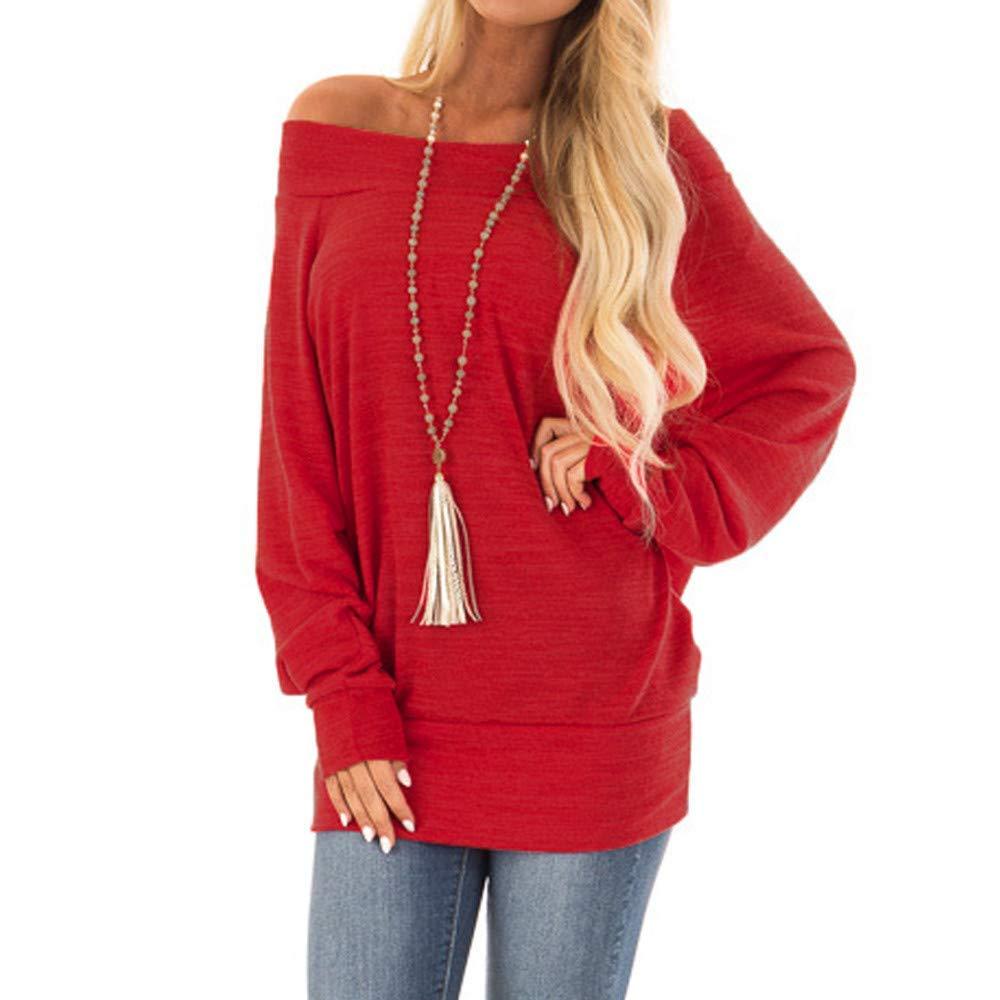 POTO Shirts,Women Long Sleeve Off The Shoulder Shirt,Loose Casual T-Shirt Tops Pullover Tunic Blouse Sweatshirt Tee
