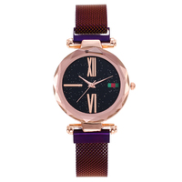 Luxury Starry Sky Stainless Steel Strap Quartz Wrist Purple Watch Women 2018