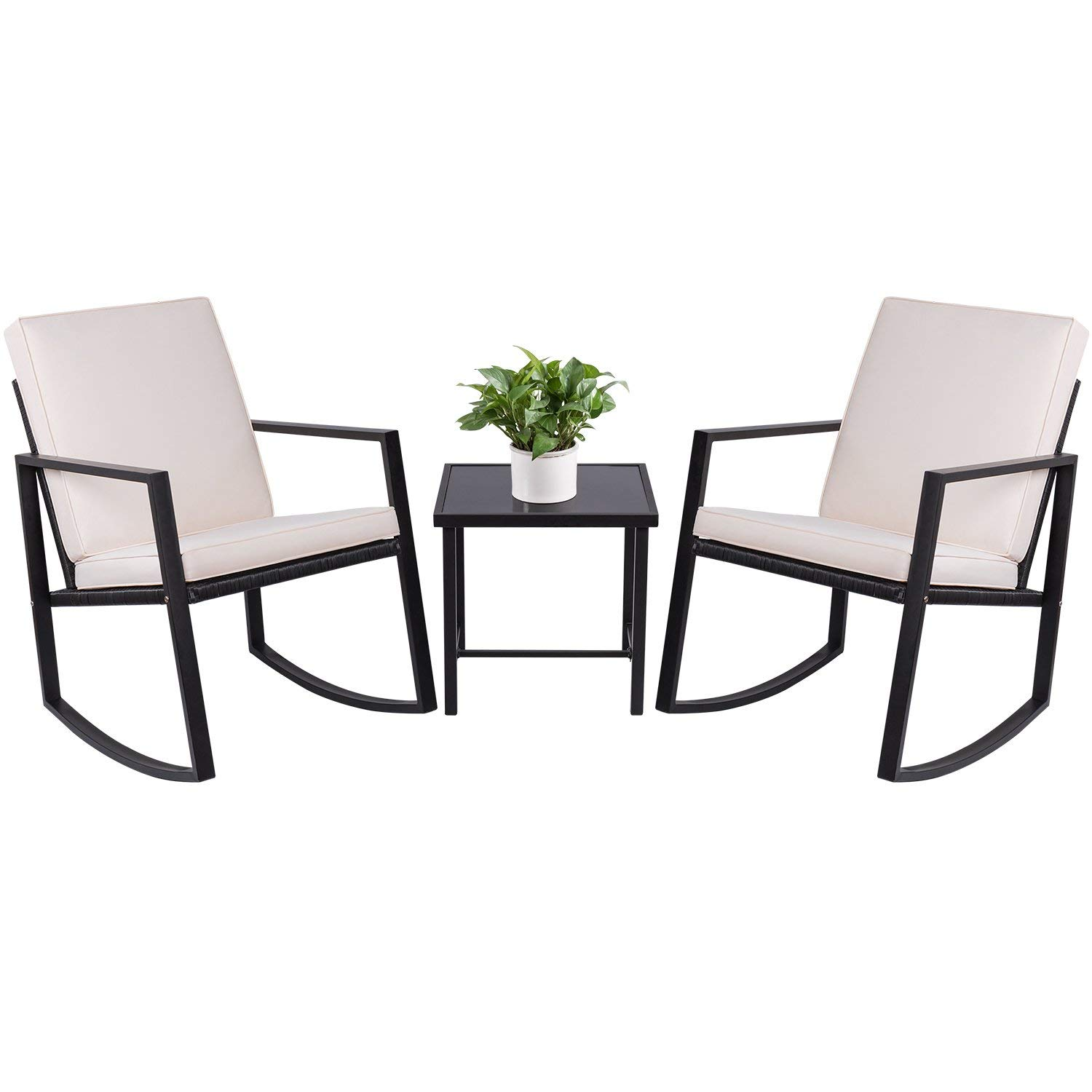 Devoko 3-Piece Rocking Bistro Sets Outdoor Patio Furniture Sets Clearance Wicker Porch Furniture with Glass Coffee Table (Black)