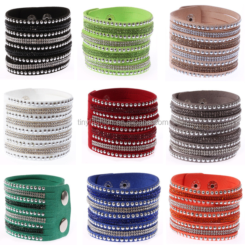 Wholesale Charm Rivet Punk Bracelets Vintage Leather Bangles