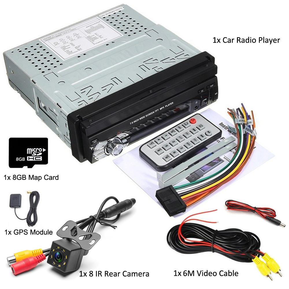 "Podofo 1Din Car Radio Autoradio GPS Navigation Bluetooth Stereo 7"" Retractable Touch Screen FM USB SD + 8 IR Rear View Camera"