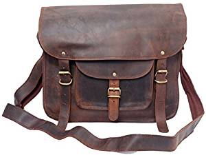 """FeatherTouch Unisex Leather Bag Everyday Satchel Laptop Macbook Bag Leather Messenger Bag 13"""" Inches Brown"""