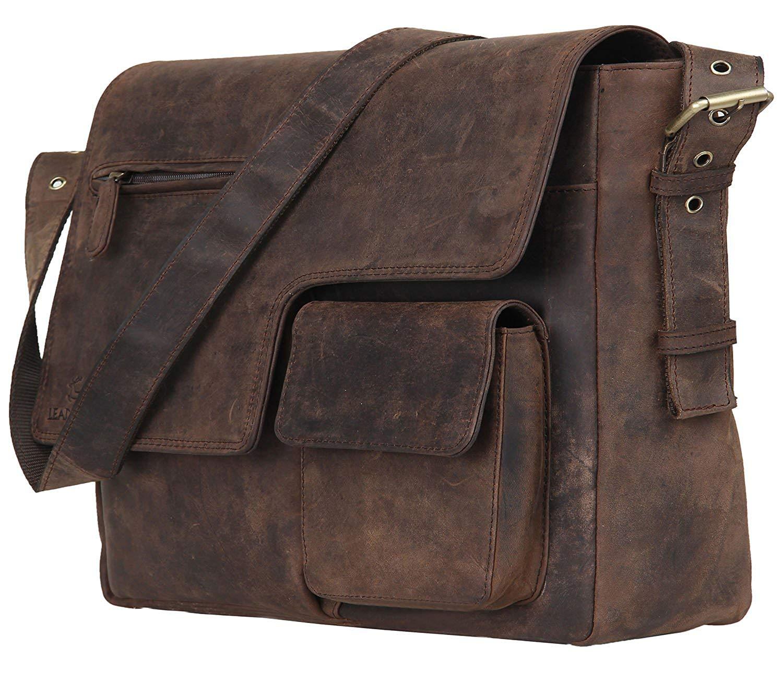 "Leaderachi - 100% Pure Genuine Real Vintage Hunter Leather Handmade Men Women Unisex Crossover Shoulder Messenger [""BRESCIA""]"
