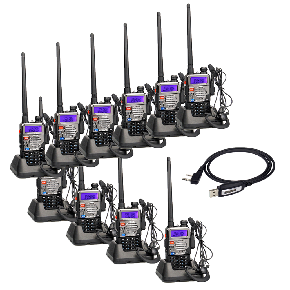 10 Pack Retevis RT5RV DTMF VOX Dual Band Walkie Talkie 5 W 128CH VHF/UHF136-174/400-520 MHz Two way radio + Ohrhörer + Programm Kabel