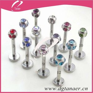 Wholesale body Jewelry crystal labret stud