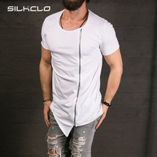 2016 New Men's Fashion Show Stylish Long T shirt Asymmetrical Side Zipper Big Neck Short Sleeve T-shirt Male Hip Hop Sport Tee