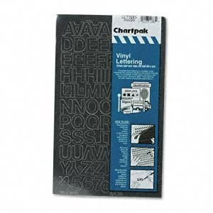 """Chartpak Products - Chartpak - Press-On Vinyl Letters & Numbers, Self Adhesive, Black, 3/4""""h, 94/Pack - Sold As 1 Pack - For signs, posters and equipment identification. - Self adhesive vinyl will stick to most clean, dry surfaces. - Can be used indoors or outdoors."""
