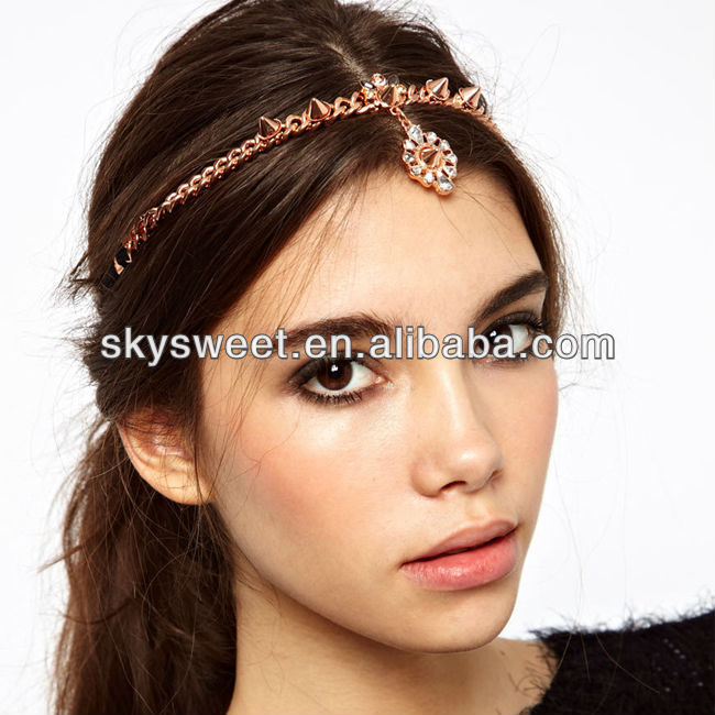 spike head chain jewelry, gold indian head jewelry, gold chain accessory (SWTCXH14)