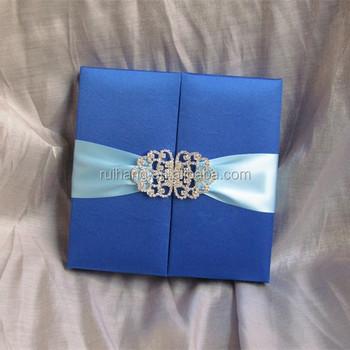 Navy Blue Gatefold Wedding Invitation Box With Brooch