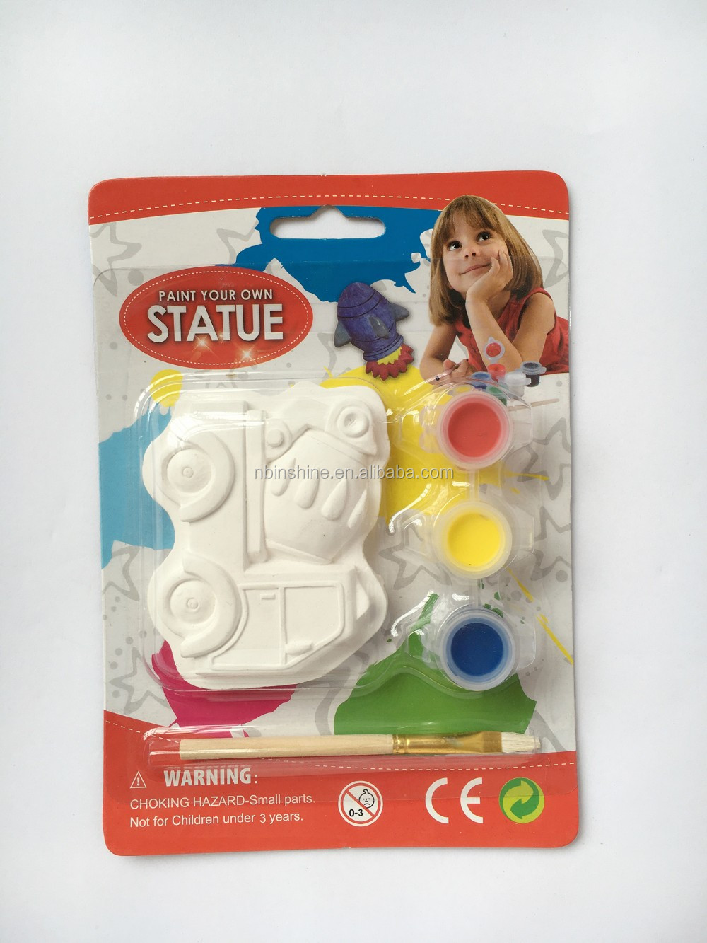 CU2562-3 Car shape kids DIY ceramic paint set , painting education bisque car