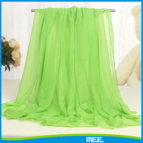 Wholesale cheap women plain green silk chiffon scarf
