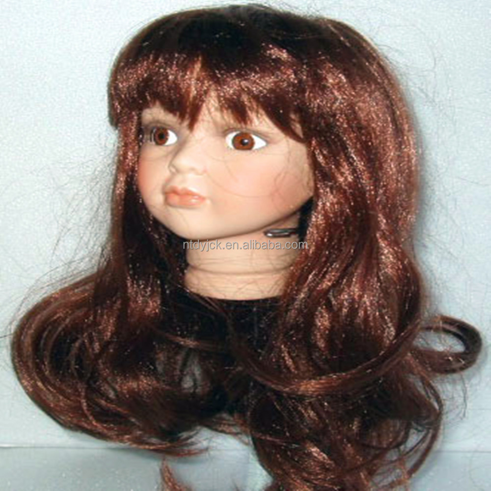 dark brown blonde long curly synthetic bjd doll wig hair doll accessories