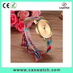 Geneva gold-plated braided band Watch, rainbow woven band lady watch, hot fashion geneva watches on Alibaba
