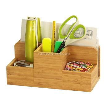 Desk Stationery Organiser - Pen Pencil Letter Rack Holder,Made Of Natural  Bamboo Storage Box - Buy Desk Organiser,Wooden Desk Pen Holde,Letter Rack
