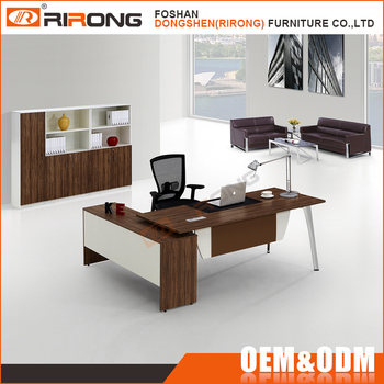 Modern Office Table L Shaped Solid Wooden Furniture Executive Desk