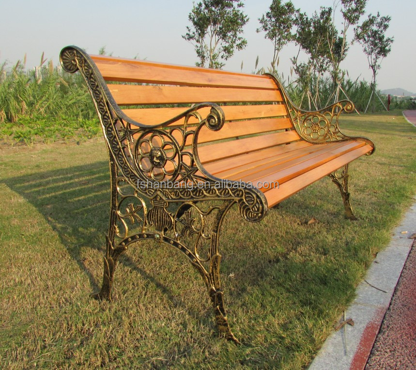 Contemporary Modern Wooden Outdoor Furniture Garden Patio Park Long Bench Chair with Cast Wrought Iron Legs Ends