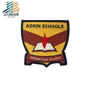 custom logo leather woven school patch badge for hats