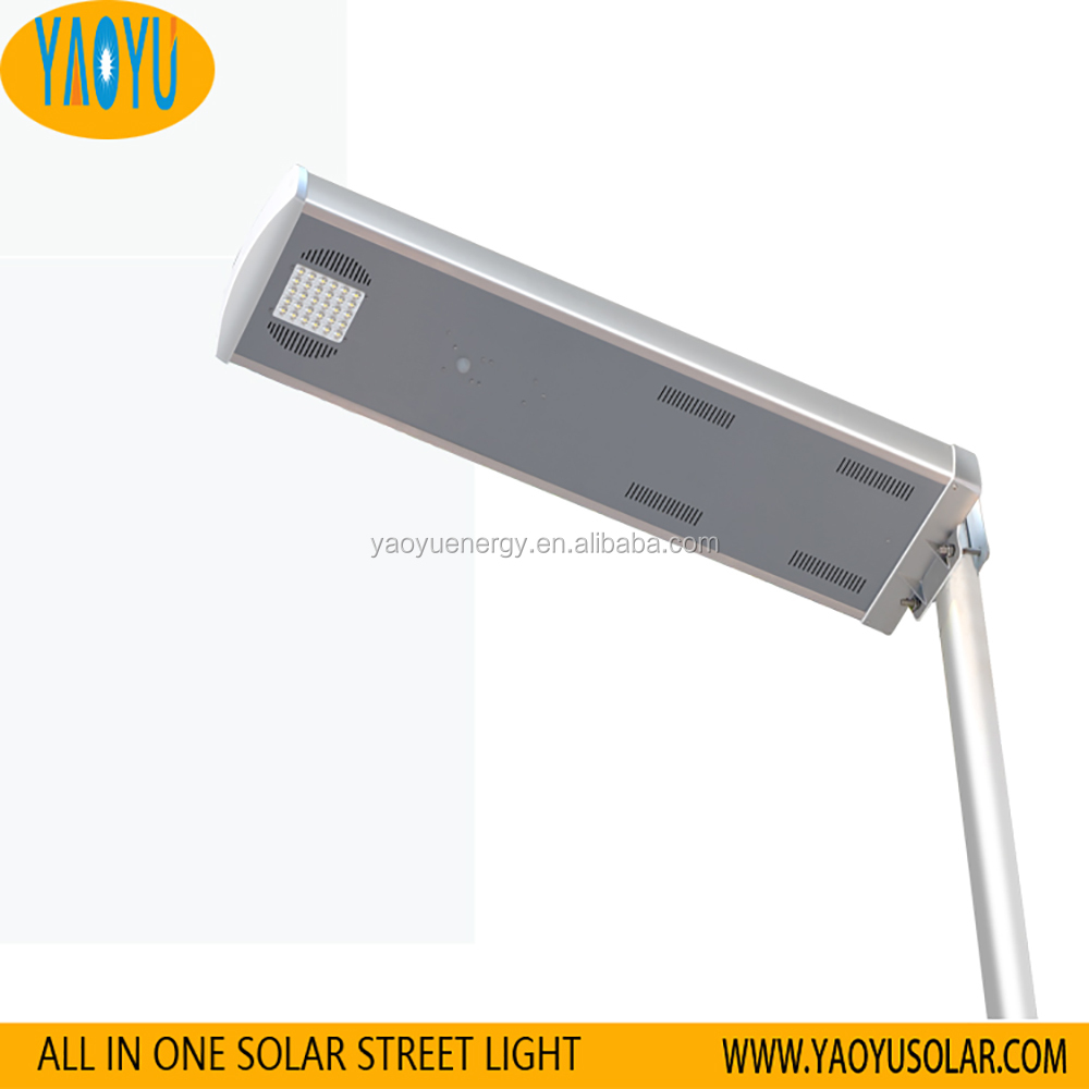 Aluminum alloy Pir motion sensor led solar street lignt 30w 3 in one