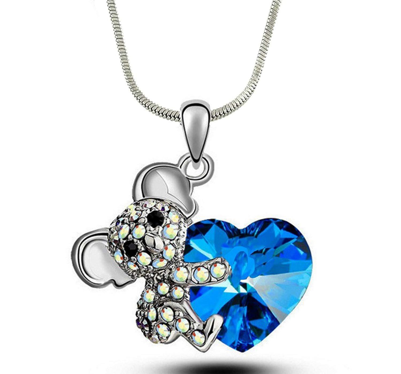 "DianaL Boutique Silver Tone Adorable Koala Teddy Bear and Heart 3D Pendant Necklace 21"" Chain"
