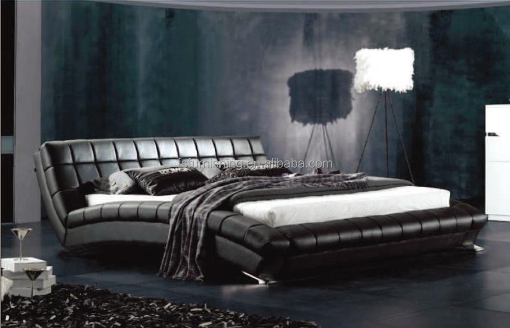 Momoda Modern Black Taly Leather Bed New Fashion Bedroom Set Foshan Factory  Customize Furniture Cheap Price Leather Bed - Buy Cheap Black Leather ...
