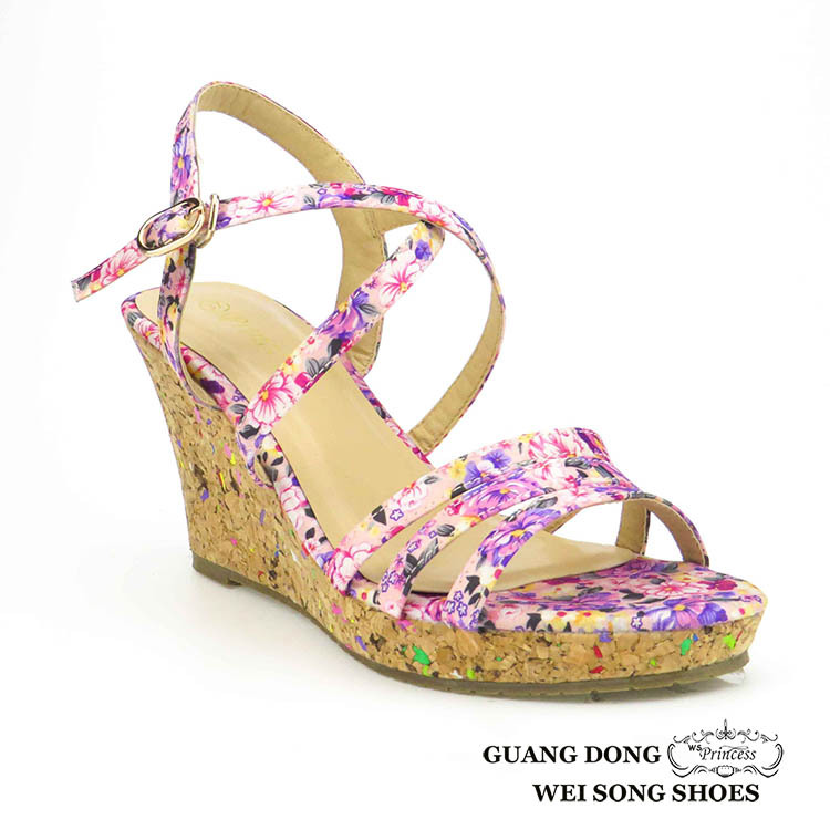 wholesale cheap good quality national style high wedge slingback open toe flower sandal