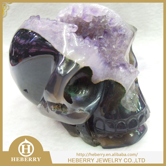 top quality Hand Carved Natural Amethyst Crystal Geode Crystal Skull for sale
