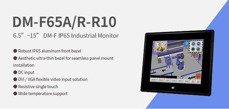 IEI DM-F65A/R 6.5 inch industrial resistive touch screen LCD monitor with 12v dc input