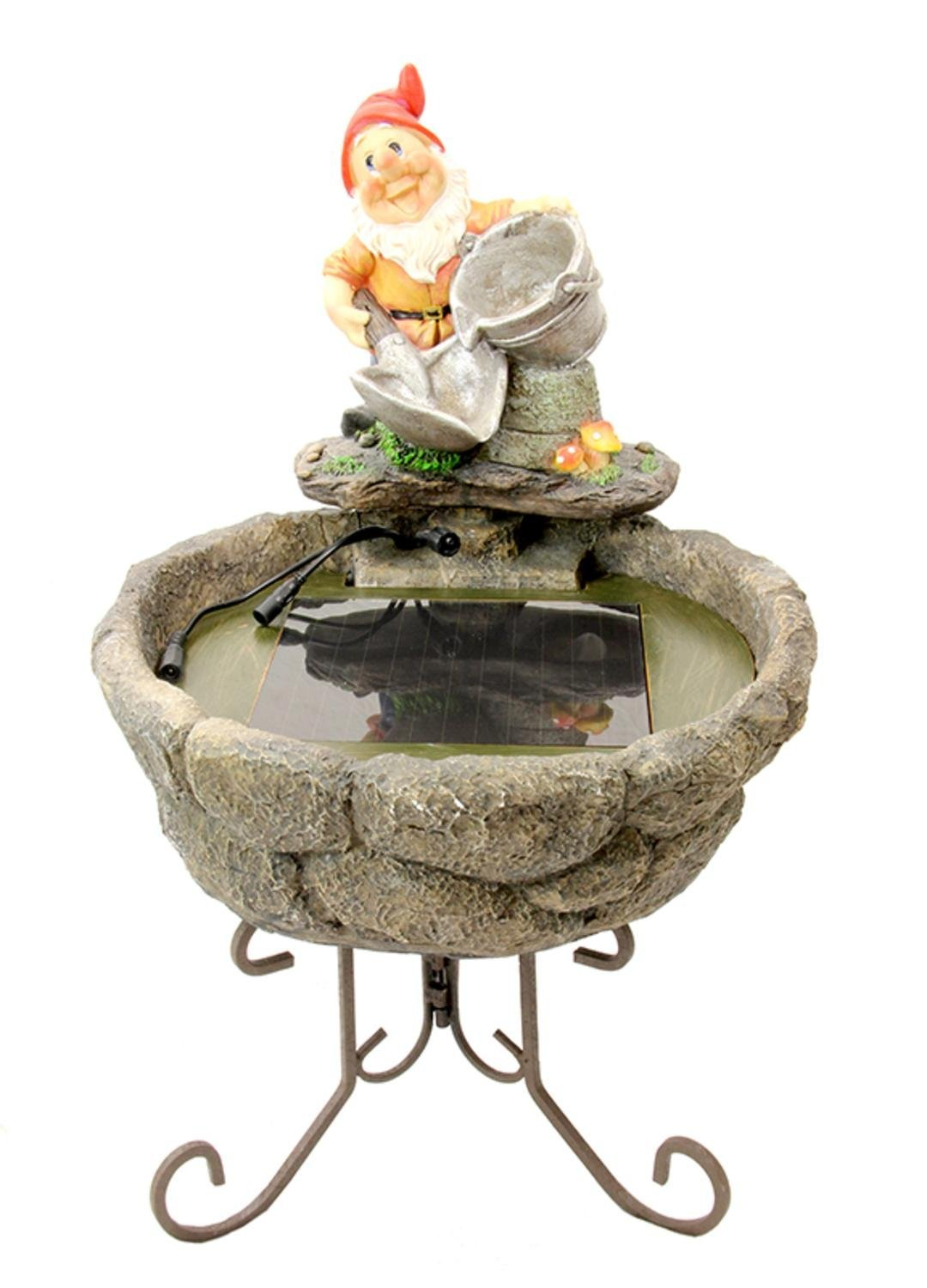 """22"""" Solar Powered Shovel and Pale Gnome Outdoor Garden Water Fountain"""