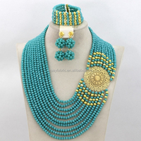 10 Rows Design Nigerian Wedding African Beads Jewelry Set Costume Jewelry Sets 18K Gold Plated Wedding Crystal Jewelry