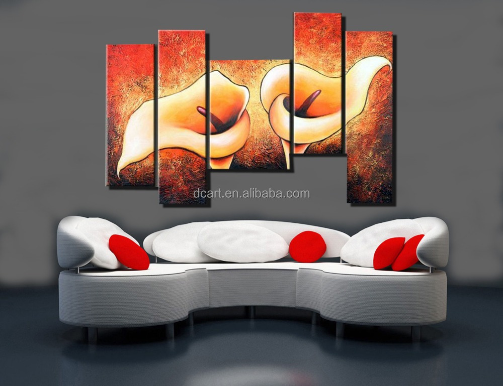 Flower group painting five pieces modern wall art