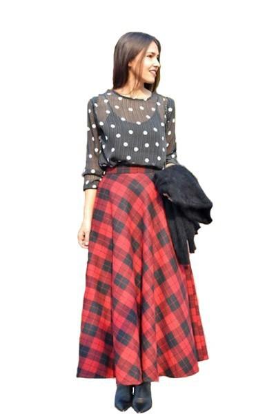 ec1f896d2ccc Get Quotations · 2015 Free Shipping Women Plaid Woolen Skirt Casual Saia  Longa Ladies Woman Big Size Maxi Long