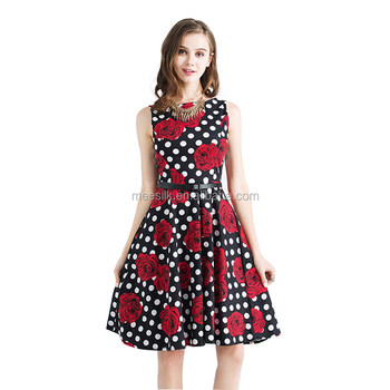 2018 Summer Rose Printed Sleeveless Dress Women Fashion Midi Dress Office Wear