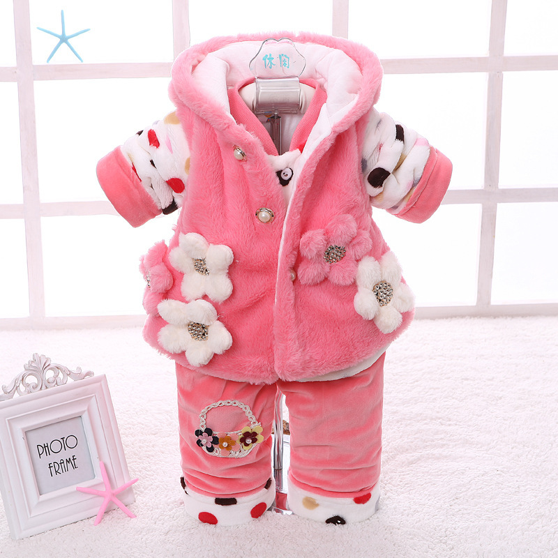 winter new born infant baby girl clothes clothing set sets 3 pieces pcs floral pink yellow sweet. Black Bedroom Furniture Sets. Home Design Ideas