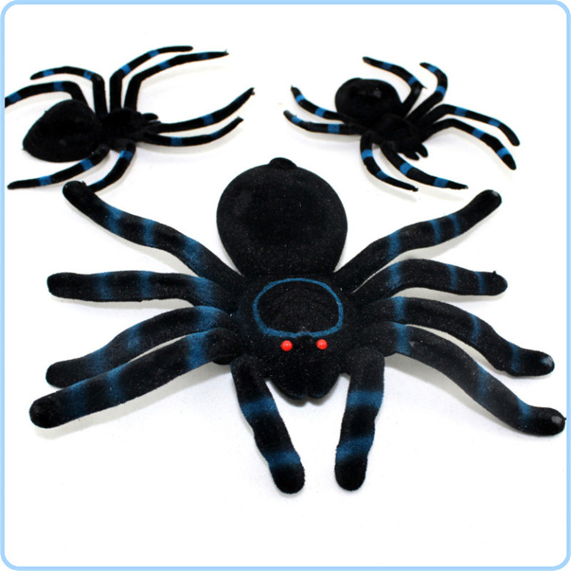 buy 3 pcs flocking black spider halloween decoration festival supplies funning joking toys realistic decoration prop hot sale in cheap price on malibaba