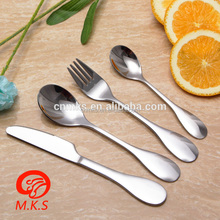 Factory wholesale stainless steel cutlery children dinnerware spoon fork knife silverware flatware set for kids silver cutlery