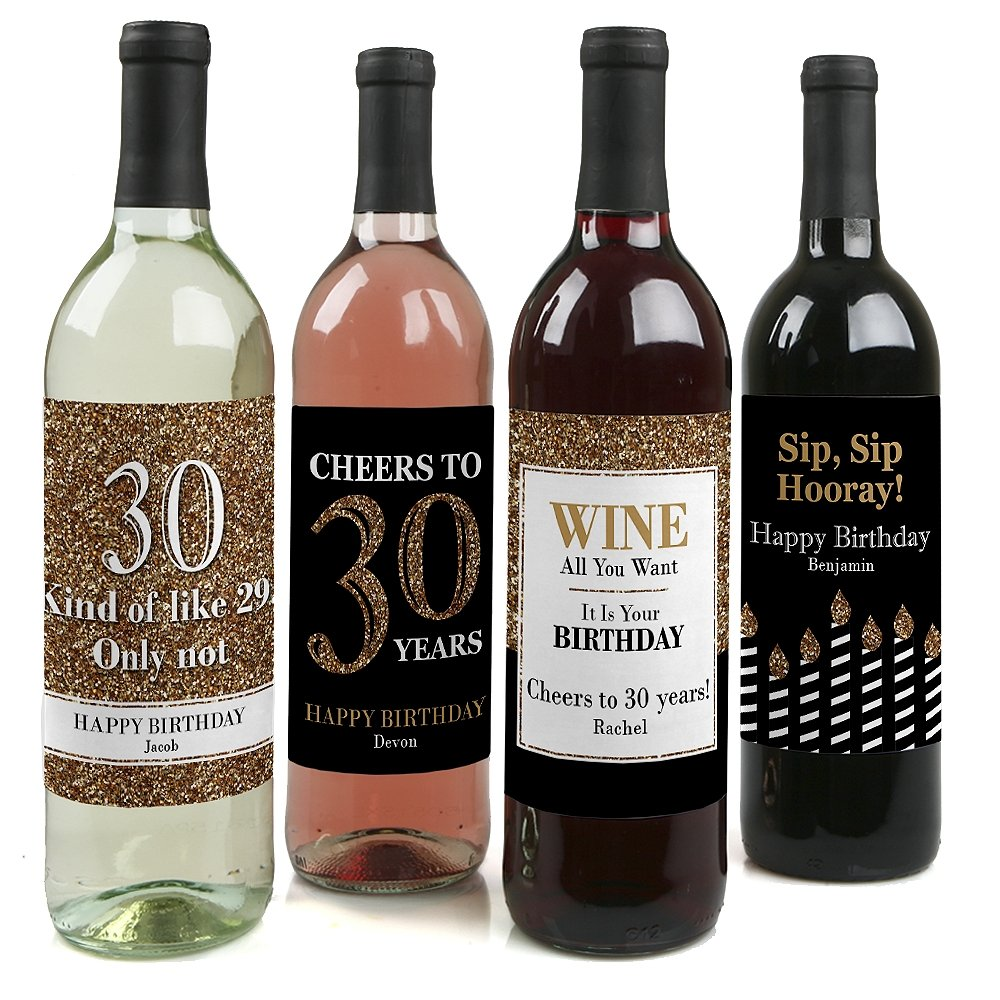 Custom Adult 30th Birthday - Gold - Personalized Birthday Party Wine Bottle Labels - Birthday Gift Idea - Set of 4