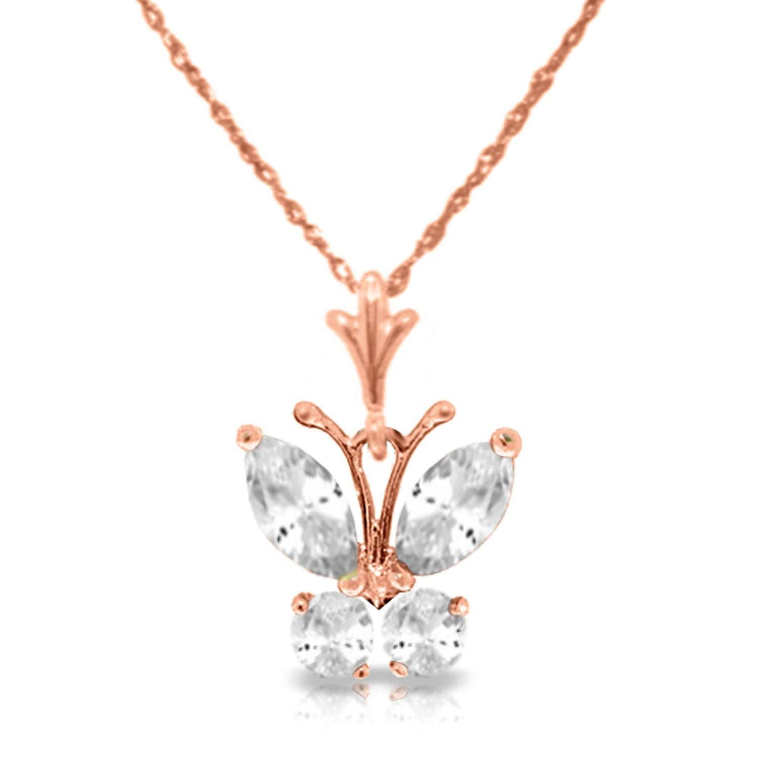 Get Quotations Alarri 1 5 Carat 14k Solid Rose Gold Erfly Necklace Cubic Zirconia With 24 Inch Chain Length