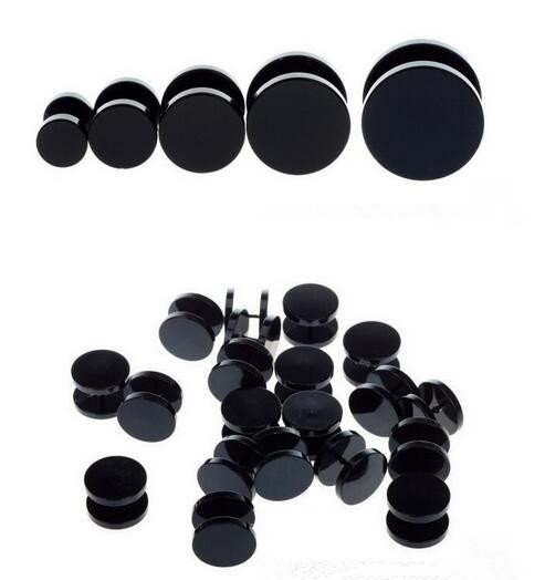 Fake Ear Plug Stud Stretcher Ear Tunnel Earring Stainless Steel Body Piercing Jewelry 4/6/8/10/12/14mm