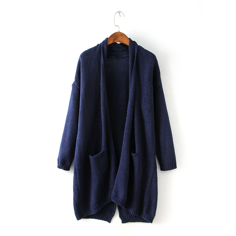 0a836708811 Get Quotations · Women plus size cardigan 2015 autumn winter long sleeve  thicken warm cardigans sweater dark navy black