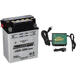 Power-Sonic CB12C-A Conventional Powersport Battery and Battery Tender 022-0157-1 Waterproof 12 Volt Power Tender Plus Battery Charger Bundle