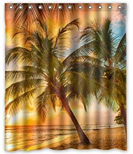 "Unique Custom Hawaii Summer Beach Palm Tree Sunset Scenery Waterproof fabric Polyester Shower Curtain 60""X72""-Bathroom Decor"