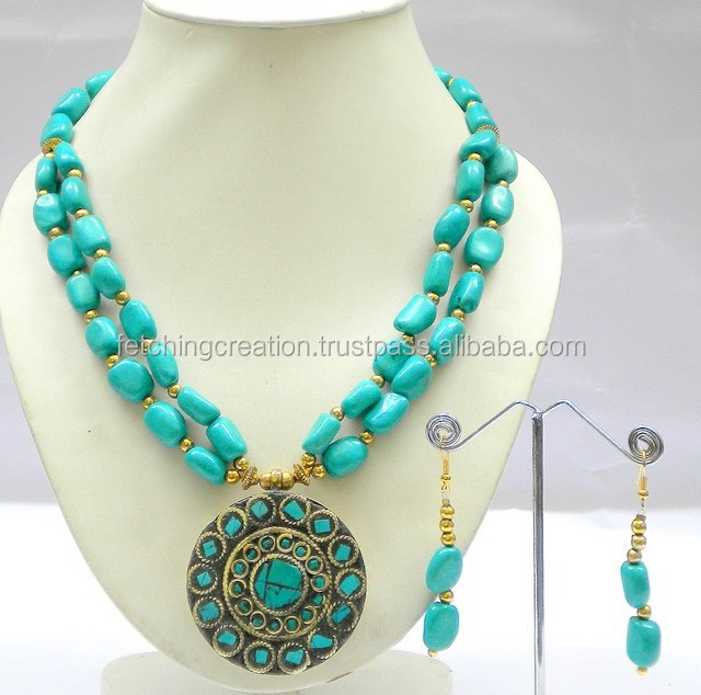 Turquoise Beads and Lac Pandent Necklace Set