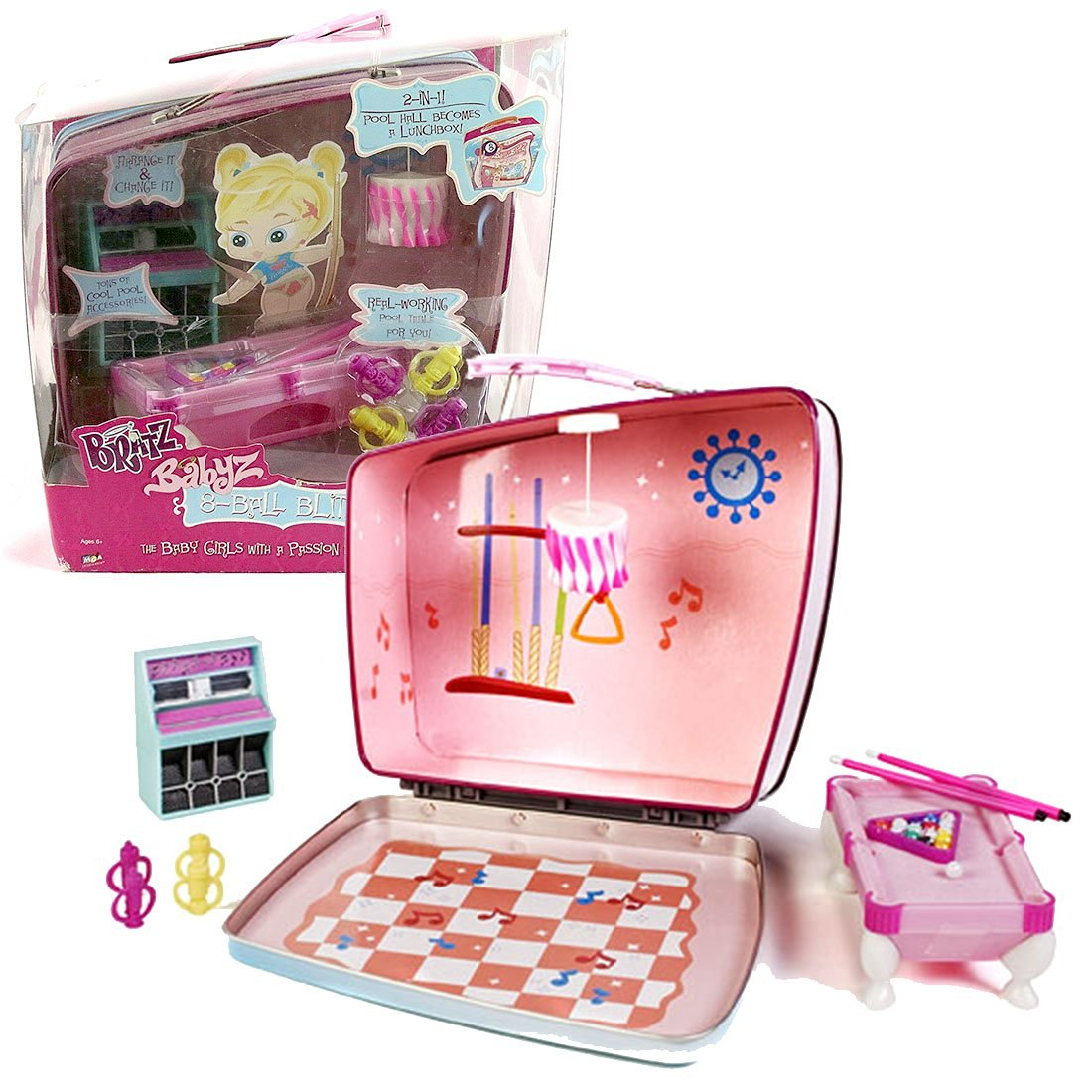 MGA Entertainment Bratz Babyz Accessory Set : 8-BALL BLITZ with Pool Hall that Becomes Lunchbox, Pool Table with Balls and Cue Sticks, Lamp, Jukebox and 4 Tiki Cups