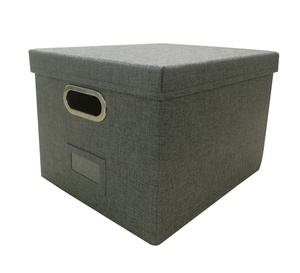 Grey linen fabric cube folding storage box with lid