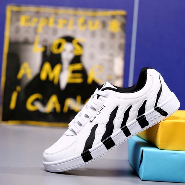 Black white stripes teenagers boys fashion 2017 sneakers leisure shoes